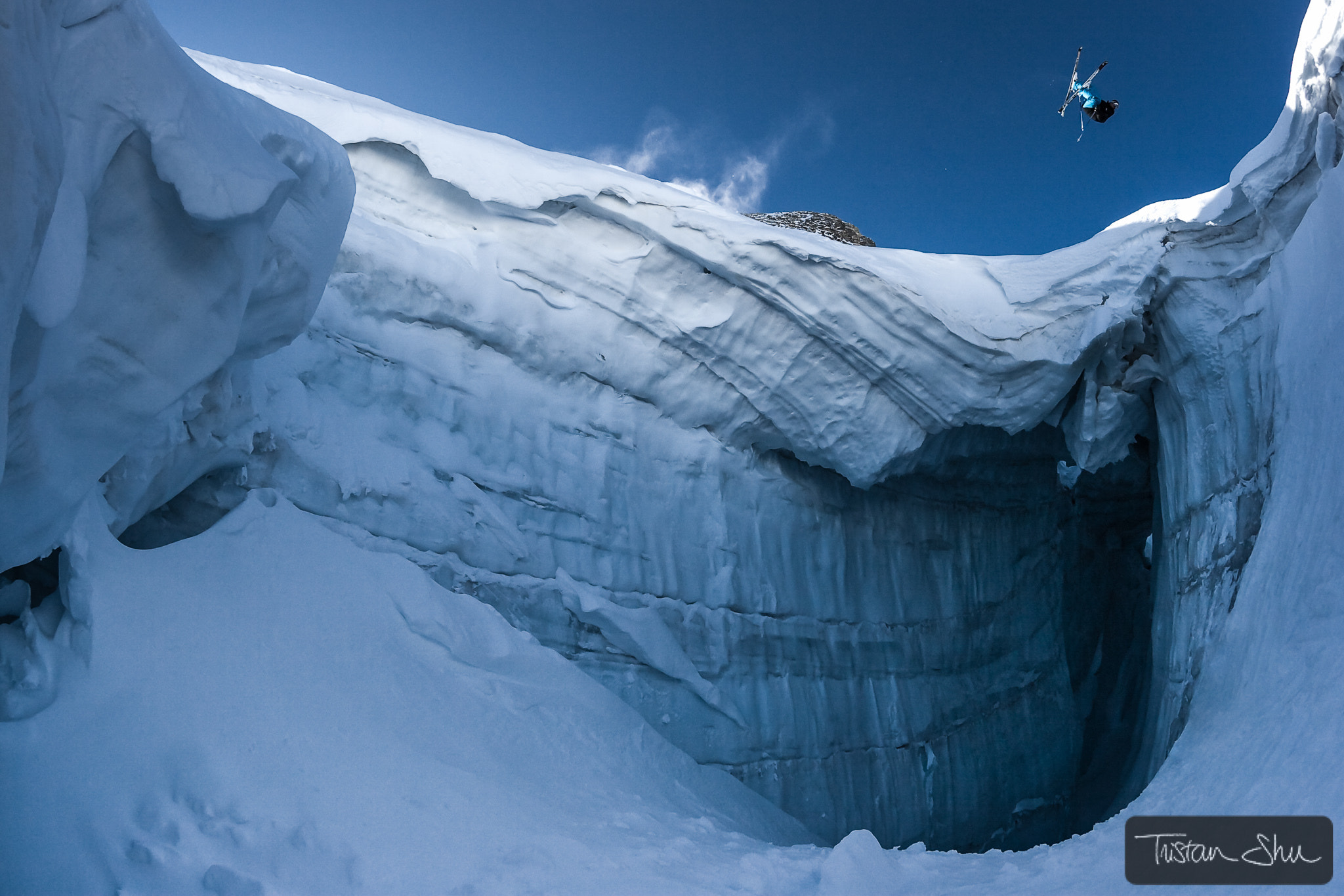 Photograph Flat Spin 360 over Crevasse with Julien Lange by Tristan Shu on 500px