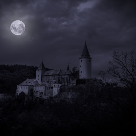 Castle Krivoklat in mystery moonlight. Czech Repub