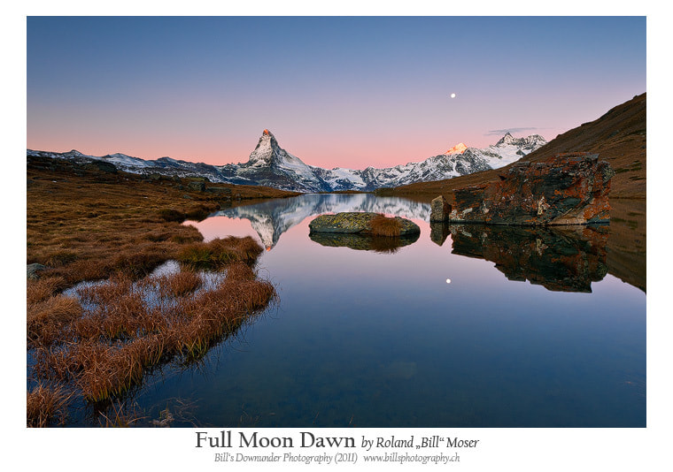 "Photograph Full Moon Dawn by Roland ""Bill"" Moser on 500px"