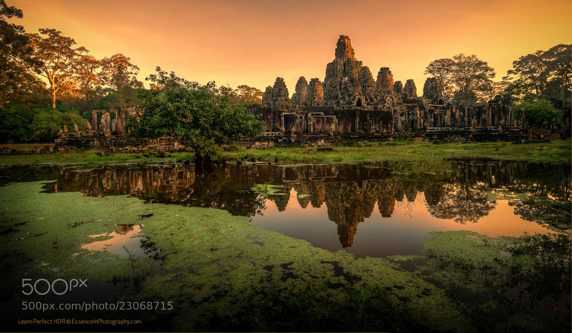 Photograph Bayon Temple Reflection at Sunrise by Captain Photo on 500px