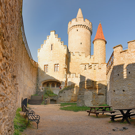 Towers seen from courtyard of Kokorin castle  in Kokorinsko landscape area in autumnal Czech...