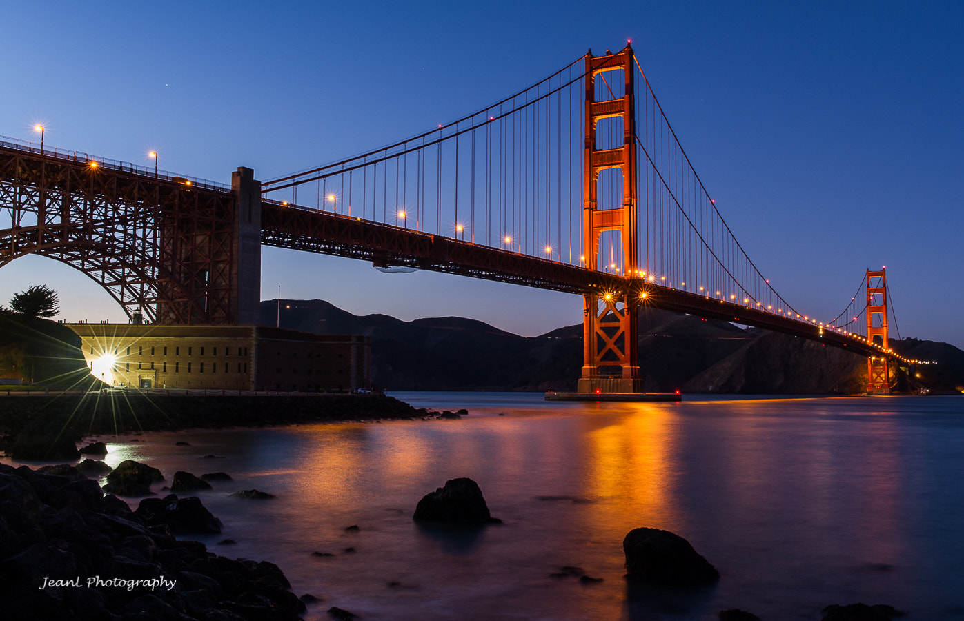 Photograph Golden Gate Bridge after Sunset by Jean Li on 500px