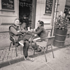 medium format black and white street photography, Leipzig , Germany