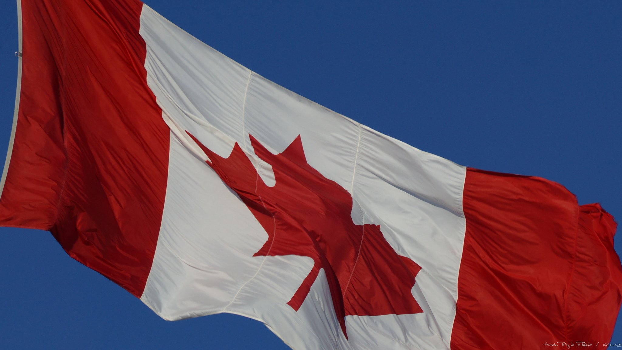 Photograph Canada's flag in the blue skies by HERNAN PEREZ on 500px