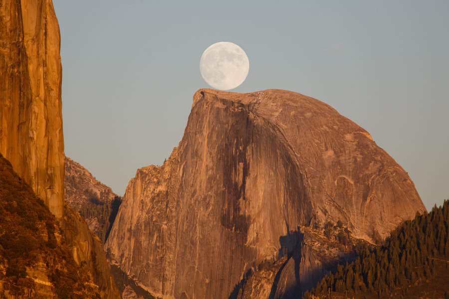 Full Moon Rise over Half Dome