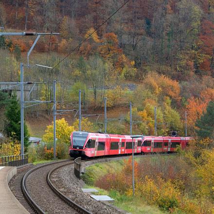 Frinvillier-Taubenloch train station in Fall