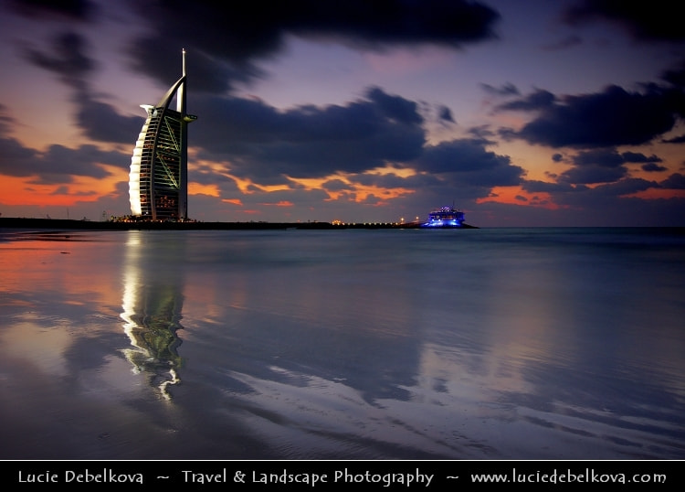 Photograph UAE - Dubai Skyline - Blue hour at Burj Al Arab 7* Hotel by Lucie Debelkova -  Travel Photography - www.luciedebelkova.com on 500px