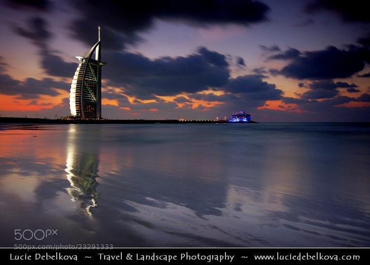 Photograph UAE - Dubai Skyline - Blue hour at Burj Al Arab 7* Hotel by Lucie Debelkova -  Travel Photography - www.luciedebelkova.com on 500px