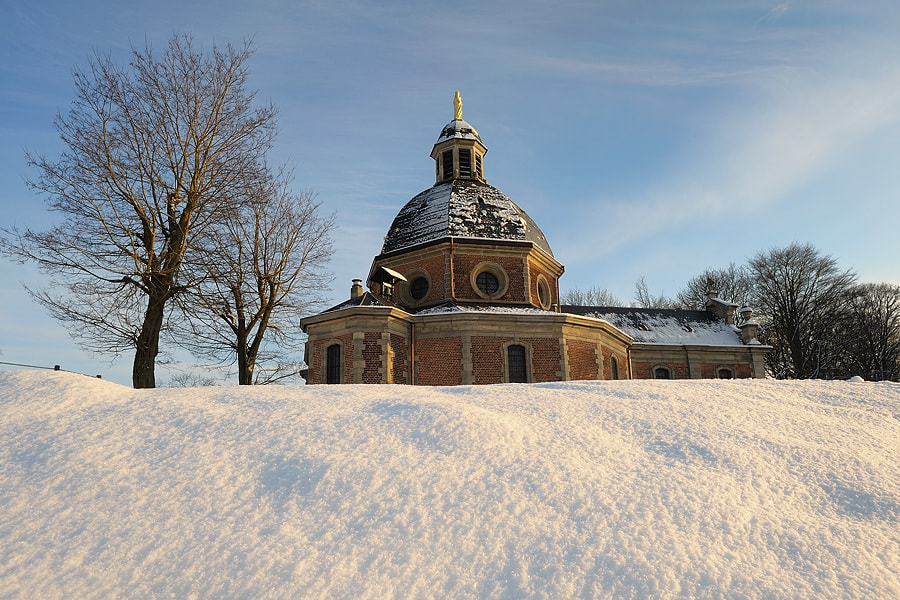 Photograph Chapel Snow Sunlight by Jimmy De Taeye on 500px