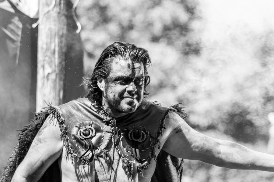 Viking on fire B&W, Vikingos Catoira 2017