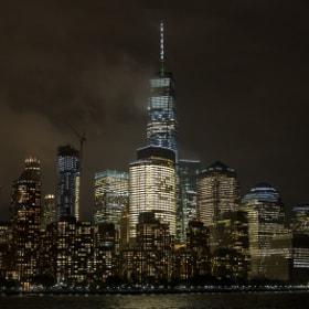 Lower Manhattan from Hudson @night