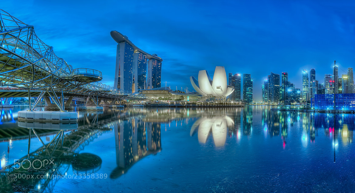 Photograph Blue Hour Reflection (MBS) by Partha Roy on 500px