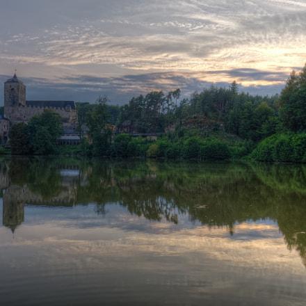 Kost castle and Bily brook. Sunset. Czech Republic