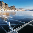 Baikal ice in the good weather
