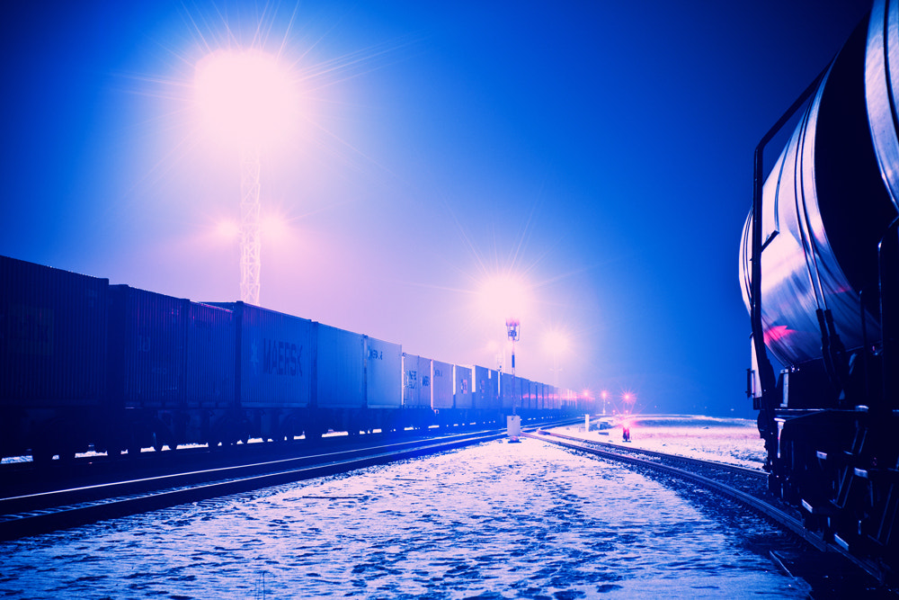 Photograph Train station at night by Dominik Fras on 500px