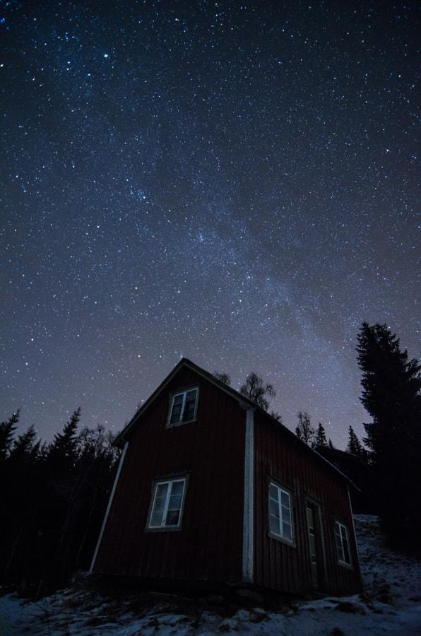 House under stars.