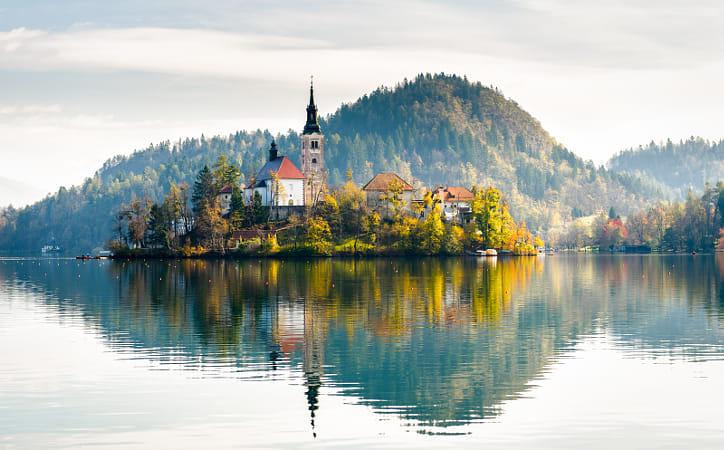 Lake Bled Slovenia. Beautiful mountain lake