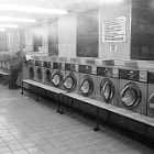 A laundrette in Shepherd's Bush, London, on an early Saturday morning.