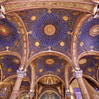 Featured in this image is the magnificent ceiling and support columns of the nave of the Church of All Nations, which is also known as the Basilica of the Agony.