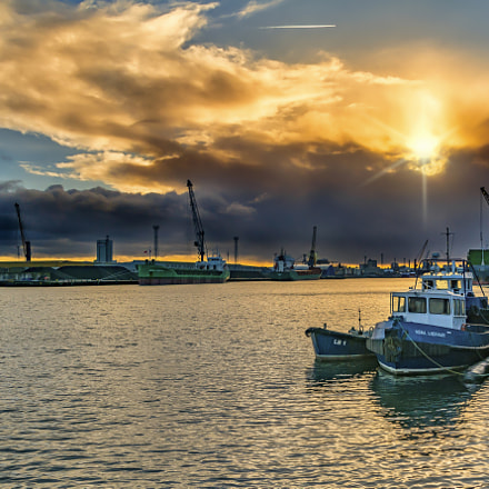 Sunset over Belfast Harbour