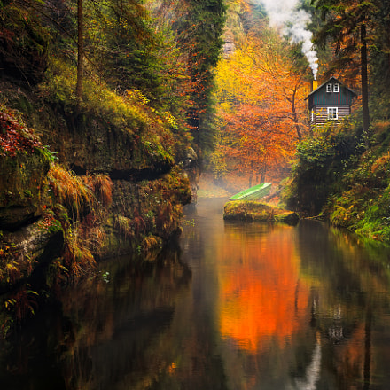Little house at the Kamnitz Gorge in Saxon switzerland national