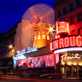 Moulin Rouge in on the Boulevard Blanche in Paris, France.