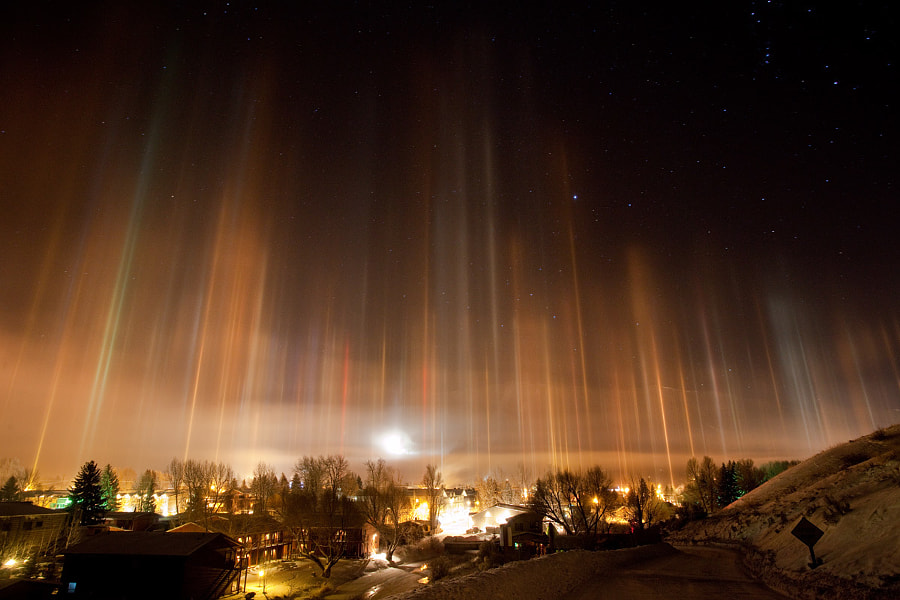 Photograph Light Pillars, Jackson WY by Tristan Greszko on 500px