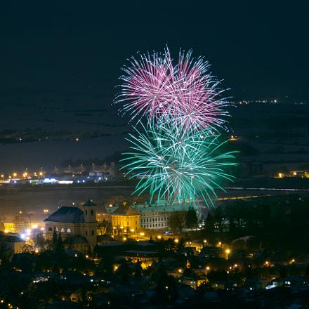 Austerlitz fireworks above castle. Battle of Austerlitz memorial.