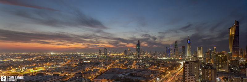 Photograph Kuwait - Skyline Blue Hour Sunset In State Of Kuwait - Panoramic View.jpg by Sarah Alsayegh on 500px