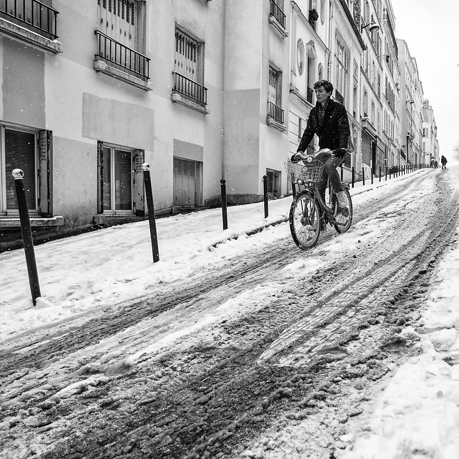 Photograph Snow cyclist by Regards Parisiens on 500px