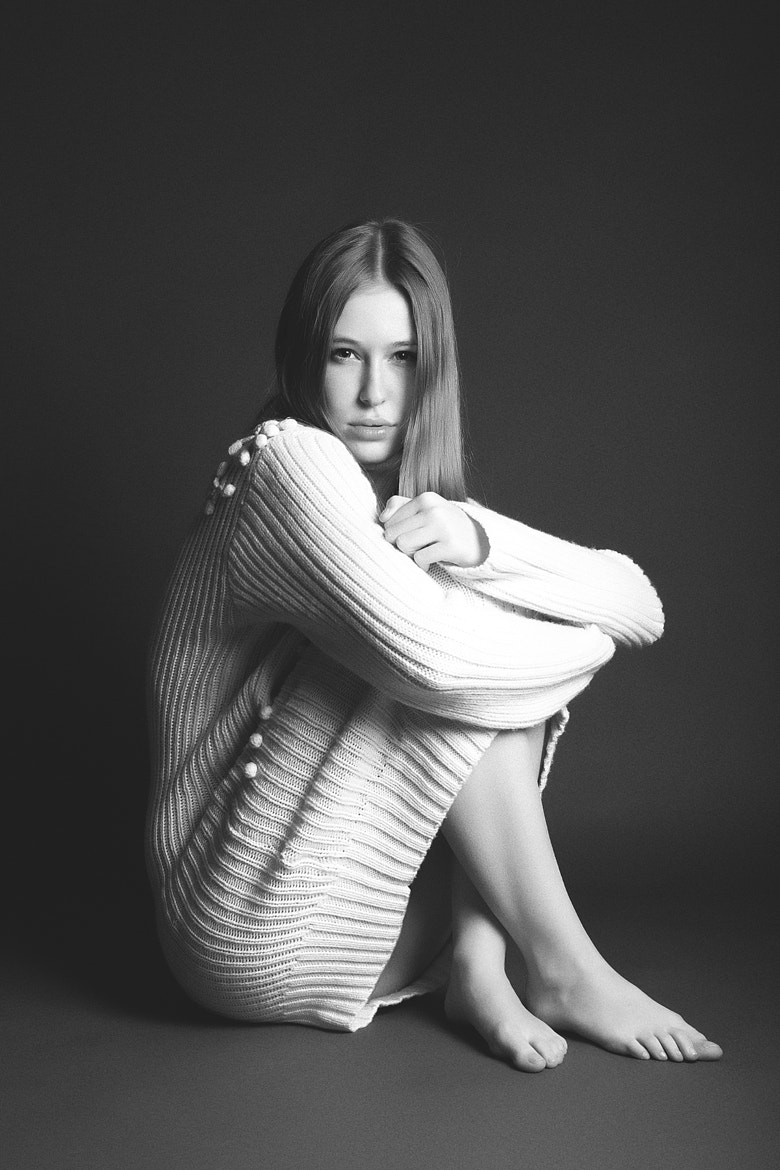 Photograph Shy girl wearing sweater by Alexandre Cicconi on 500px