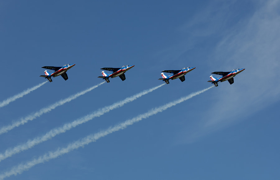 Four of the great pilots from the Patrouille the France in there Alphajets. With number 7 in front is 36 year old Capitaine Sylvain Pillet. Behind him with number 6 is 32 year old Capitaine Jean-Noël Guy. The third in the row with number 8 is 39 year old Capitaine Antoine Hauser, and last but not least with plane number 5 is 39 year old Capitaine Paco Wallaert. Shot taken during an air display at the Dutch Air Force Base in Leeuwarden.  Best regards and have a nice Sunday,  Harry