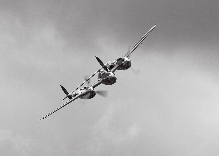 P-38 moody sky