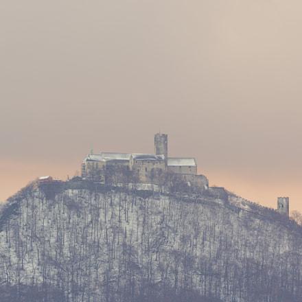 Hrad Bezděz, zimní pastelové nebe