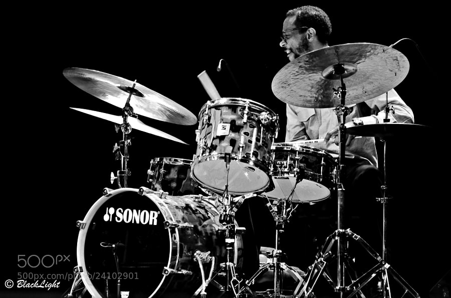 Drummer Brian Blade captured here during the 10th annual Panama Jazz Festival, playing with the Wayne Shorter Quartet.  Brian