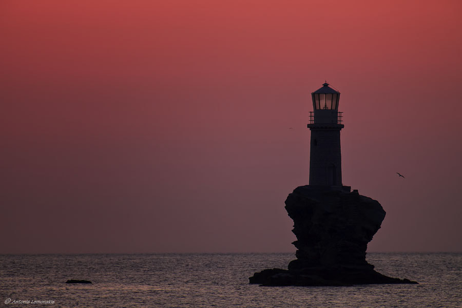 Photograph Andros' lighthouse-sunset by Antonis Lemonakis on 500px