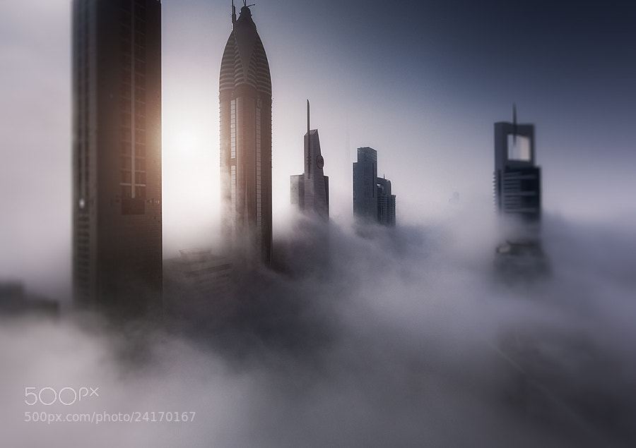 A misty morning in Dubai.