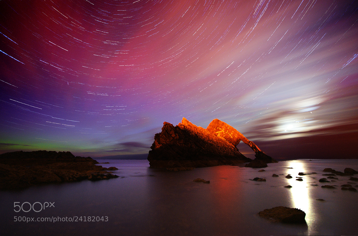 Photograph Bow Fiddle Rock at night by Kenny Muir on 500px