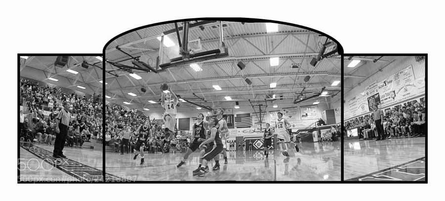 Josh going in for the lay-up. Triptych of 8 photos selected from over 100 taken over 2 quarters of play and selectively masked to produce an time-lapse composite.