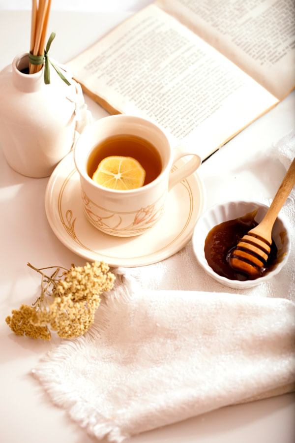 light white autumn background with tea, honey, and book for you.Copy Space. Place for text. Flat... by Svetoslav Sokolov on 500px.com