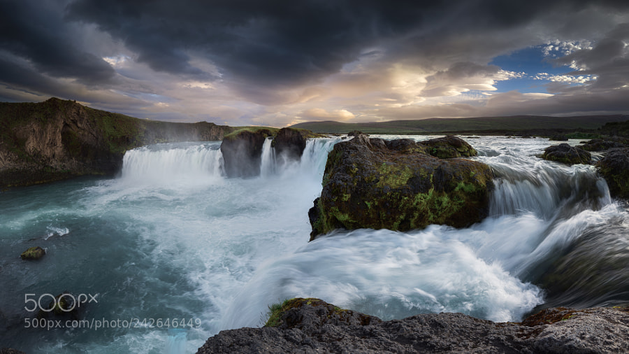 Above the water of Goðafoss