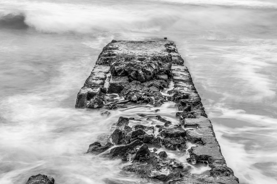 Old pier in black and white