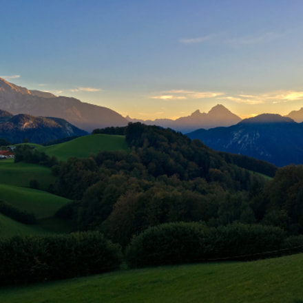Sunset view into the heart of the Berchtesgaden alps