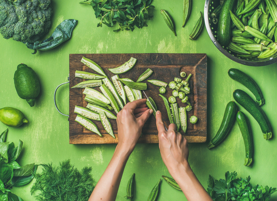 Flat-lay of healthy green vegan cooking ingredients by Anna Ivanova on 500px.com