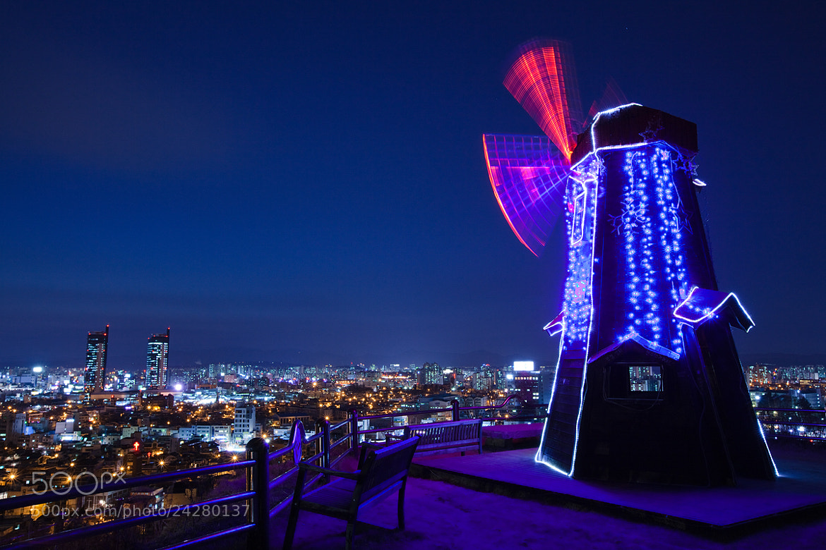 Photograph windmill and nightview by kim chaejin on 500px
