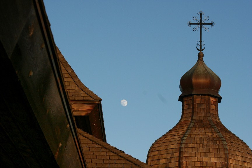 Photograph St. Elias  - Steeple with moon by Dan Harmer on 500px
