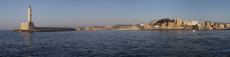 Chania Old port panorama