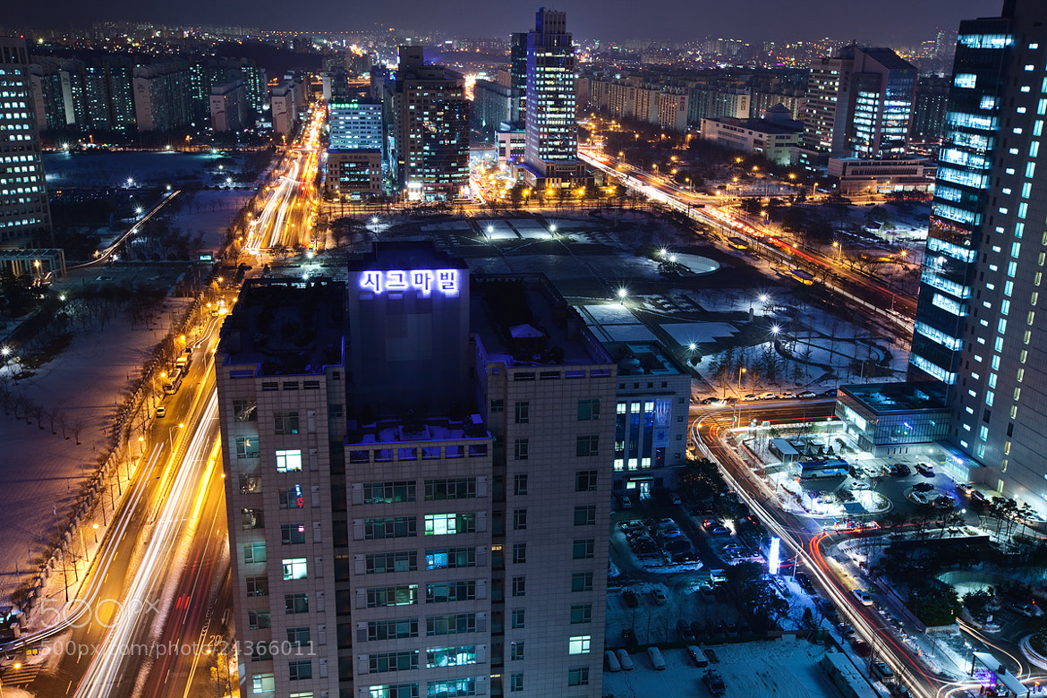 Photograph city with snow in the night by kim chaejin on 500px