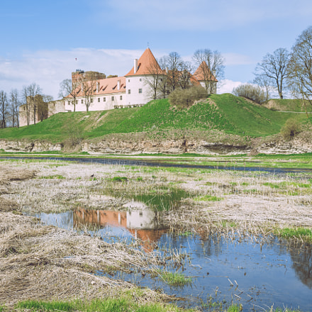 Old castle in Latvia, Bauska, 2017 April.