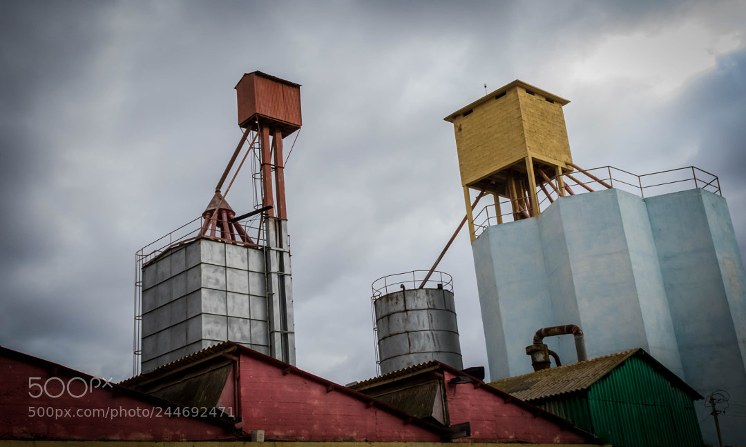 A colorful grain warehouse